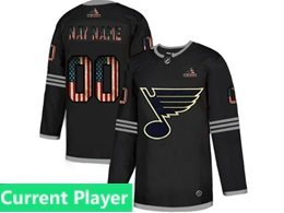 Mens Nhl St.louis Blues Black Current Player 2020 National Flag Adidas Jersey