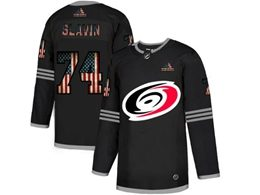 Mens Nhl Carolina Hurricanes #74 Jaccob Slavin Black 2020 National Flag Adidas Jersey
