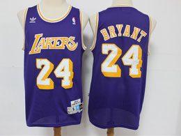 Mens Nba Los Angeles Lakers #24 Kobe Bryant Purple Hardwood Classics Adidas Jersey