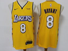 Mens 2019-20 Nba Los Angeles Lakers #8 Kobe Bryant Gold City Edition Nike Swingman Jersey