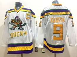 Mens Nhl Anaheim Mighty Ducks #9 Kariya White Movie Jersey