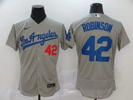 Mens Mlb Los Angeles Dodgers #42 Ackie Robinson Gray Flex Base Nike Jersey