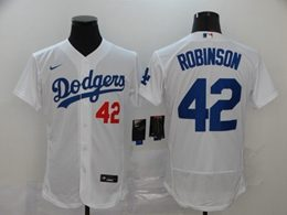 Mens Mlb Los Angeles Dodgers #42 Ackie Robinson White Flex Base Nike Jersey