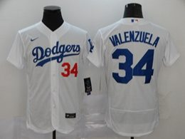 Mens Mlb Los Angeles Dodgers #34 Fernando Valenzuela White Flex Base Nike Jersey
