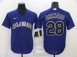 Mens Mlb Colorado Rockies #28 Nolan Arenado Purple Cool Base Nike Jersey
