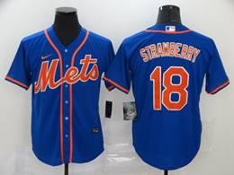 Mens Mlb New York Mets #18 Darryl Strawberry Blue Cool Base Nike Jersey