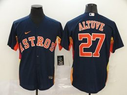 Mens Mlb Houston Astros #27 Jose Altuve Blue Cool Base Nike Jersey