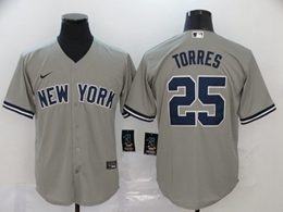 Mens Mlb New York Yankees #25 Gleyber Torres Gray Cool Base Nike Jersey