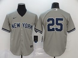 Mens Mlb New York Yankees #25 Gleyber Torres Gray Cool Base Nike Jersey No Name