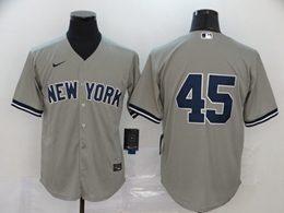 Mens Mlb New York Yankees #45 Gerrit Cole Gray Cool Base Nike Jersey No Name