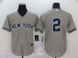 Mens Mlb New York Yankees #2 Derek Jeter Gray Cool Base Nike Jersey No Name