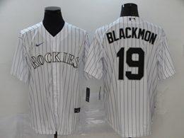 Mens Mlb Colorado Rockies #19 Charlie Blackmon White Stripe Cool Base Nike Jersey