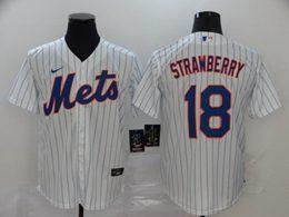 Mens Mlb New York Mets #18 Darryl Strawberry White Stripe Cool Base Nike Jersey