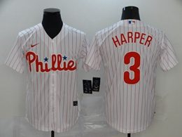 Mens Mlb Philadephia Phillies #3 Bryce Harper White Stripe Cool Base Nike Jersey