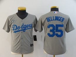 Women Youth Mlb Los Angeles Dodgers #35 Cody Bellinger Gray Cool Base Nike Jersey