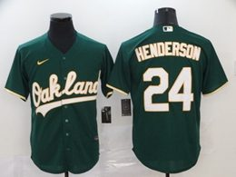 Mens Mlb Oakland Athletics #24 Rickey Henderson Green Cool Base Nike Jersey