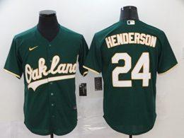 Mens Mlb Oakland Athletics #24 Rickey Henderson Green Cool Base Nike Jersey