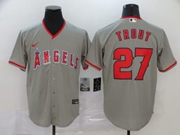 Mens Mlb Los Angeles Angels #27 Mike Trout Gray Cool Base Nike Jersey
