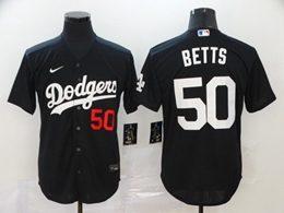 Mens Mlb Los Angeles Dodgers #50 Mookie Betts Black Cool Base Nike Jersey