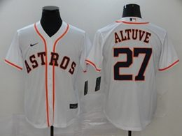 Mens Mlb Houston Astros #27 Jose Altuve White Cool Base Nike Jersey