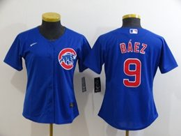 Women Youth Mlb Chicago Cubs #9 Javier Baez Blue Cool Base Nike Jersey