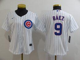 Women Youth Mlb Chicago Cubs #9 Javier Baez White Stripe Cool Base Nike Jersey