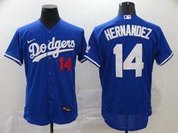Mens Mlb Los Angeles Dodgers #14 Enrique Hernandez Blue Flex Base Nike Jersey