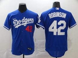 Mens Mlb Los Angeles Dodgers #42 Ackie Robinson Blue Flex Base Nike Jersey