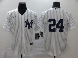Mens Mlb New York Yankees #24 Gary Sanchez White Stripe Cool Base Nike Jersey No Name