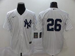 Mens Mlb New York Yankees #26 Dj Lemahieu White Stripe Cool Base Nike Jersey No Name