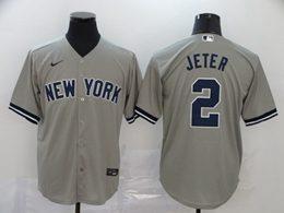 Mens Mlb New York Yankees #2 Derek Jeter Gray Cool Base Nike Jersey