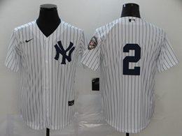 Mens Mlb New York Yankees #2 Derek Jeter White Stripe Cool Base Nike Jersey No Name