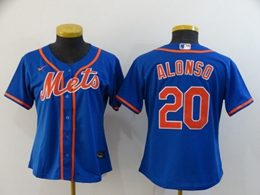 Women Youth Mlb New York Mets #20 Pete Alonso Blue Cool Base Nike Jersey