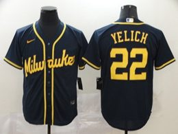 Mens Mlb Milwaukee Brewers #22 Christian Yelich Navy Blue Cool Base Nike Jersey