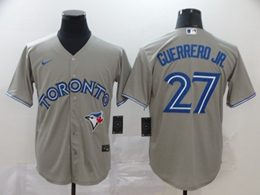 Mens Mlb Toronto Blue Jays #27 Guerrero Jr. Gray Cool Base Nike Jersey