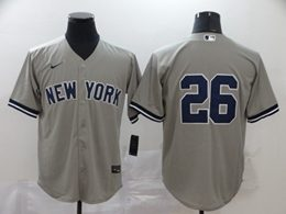 Mens Mlb New York Yankees #26 Dj Lemahieu Gray Cool Base Nike Jersey No Name