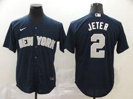 Mens Mlb New York Yankees #2 Derek Jeter Navy Blue Cool Base Nike Jersey