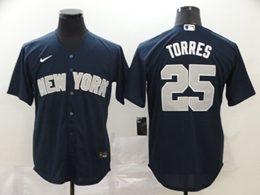 Mens Mlb New York Yankees #25 Gleyber Torres Navy Blue Cool Base Nike Jersey
