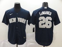 Mens Mlb New York Yankees #26 Dj Lemahieu Navy Blue Cool Base Nike Jersey