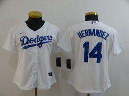Women Mlb Los Angeles Dodgers #14 Enrique Hernandez White Cool Base Nike Jersey