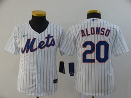 Women Youth Mlb New York Mets #20 Pete Alonso White Stripe Cool Base Nike Jersey