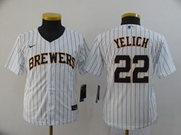 Women Youth Mlb Milwaukee Brewers #22 Christian Yelich White Stripe Cool Base Nike Jersey
