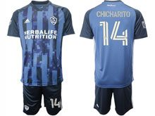 Mens 20-21 Soccer Los Angeles Galaxy Club #14 Chcharito Blue Away Short Sleeve Suit Jersey