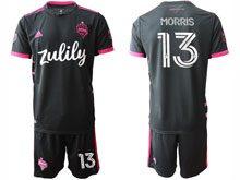 Mens 20-21 Soccer Seattle Sounders Club #13 Morris Black Away Short Sleeve Jersey