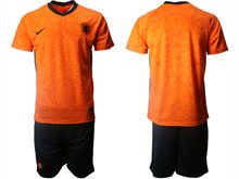 Mens Soccer Holland Ntaional Team ( Custom Made ) Orange 2020 European Cup Home Short Sleeve Suit Jersey