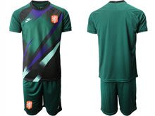 Mens Soccer Holland Ntaional Team ( Custom Made ) Green 2020 European Cup Goalkeeper Short Sleeve Suit Jersey