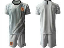 Mens Soccer Holland Ntaional Team ( Custom Made ) Gray 2020 European Cup Goalkeeper Short Sleeve Suit Jersey