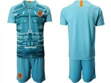 Mens Soccer Holland Ntaional Team ( Custom Made ) Blue 2020 European Cup Goalkeeper Short Sleeve Suit Jersey