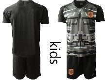 Youth Soccer Holland Ntaional Team ( Custom Made ) Black 2020 European Cup Goalkeeper Short Sleeve Suit Jersey