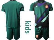 Kids Soccer Holland Ntaional Team ( Custom Made ) Green 2020 European Cup Goalkeeper Short Sleeve Suit Jersey